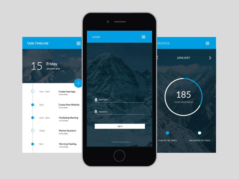 Daily Tasks  login interface app iphone planner tasks ux ui
