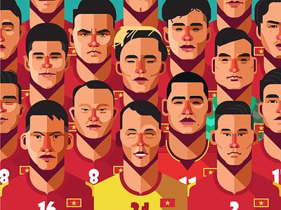 Vietnam Football Legend 2 design flat vector character illustration