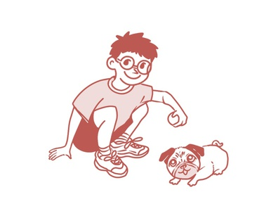 Boy and the Pug design character puppy pug boy lineart art illustration