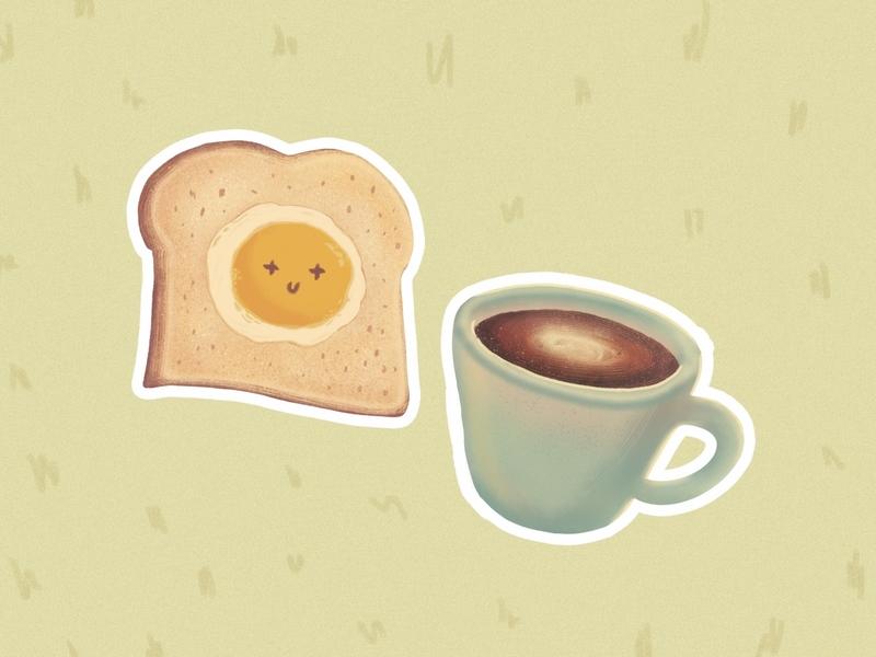 Breakfast Combo stickers fundraiser quarantine coffee egg toast food illustration artph colors design illustration