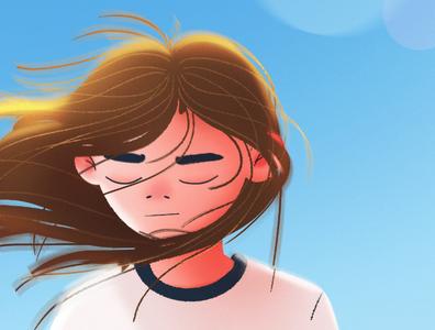 ✨ sun wind girl photoshop art photoshop digitalpainting digitalart character character design illustration