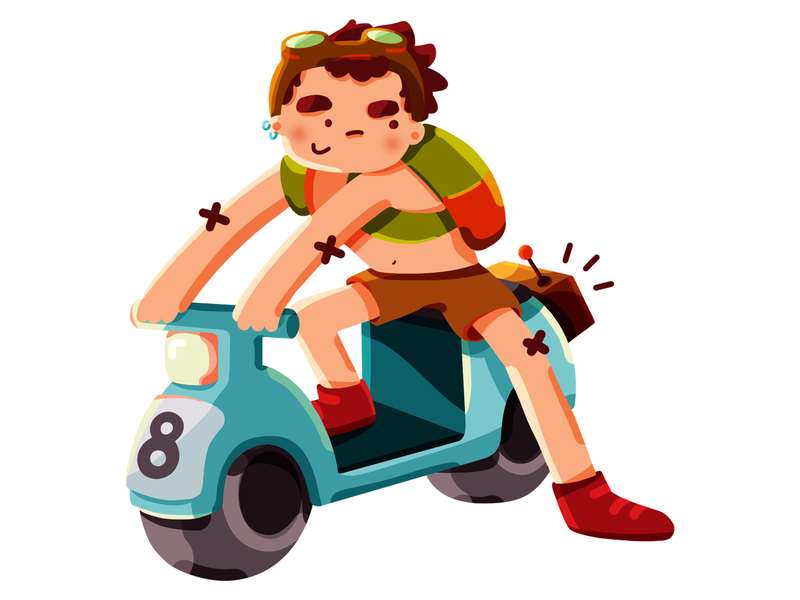 Fella boy scooter character photoshop digitalpainting character design illustration