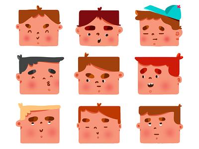 Squareheads. square digitalpainting digitalart character design illustration