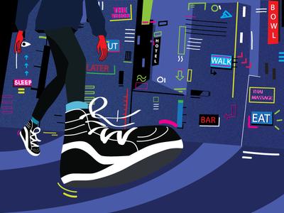 Walker illustration vansk8 vans night walking lights city
