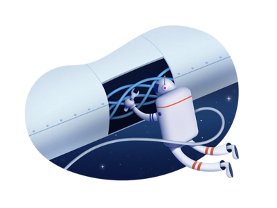 Bug Fixing spaceapp space fixing bug shuttle spaceman character illustration