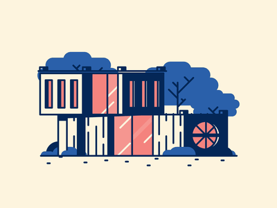 New House! architecture perspective 3d grass trees windows house retro line minimal simple graphic design illustration