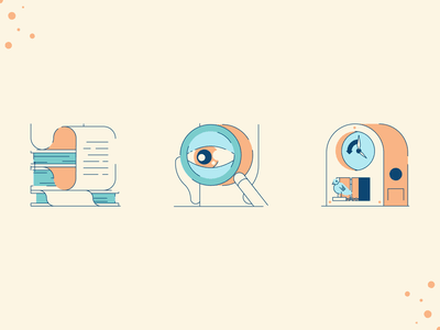 Decision Making Illustrations decision person clockwork coucou books research skeptical clock retro line minimal simple graphic design illustration