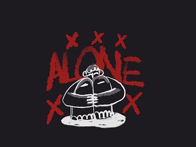 Alone mental health awareness mentalhealth alone minimal graphic design illustration