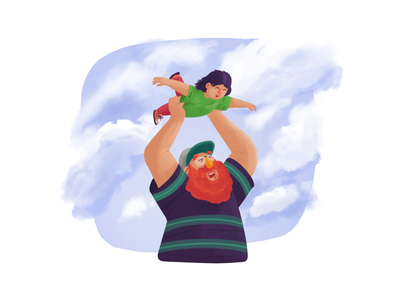 Play Time procreate parenting fun airplane flying playtime daughter kid dad father play graphic design illustration