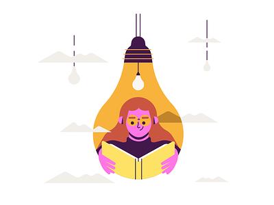 Reading clouds sky lightbulb books reading man woman person simple minimal graphic design illustration