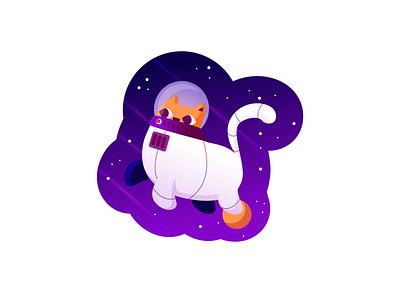 Catronaut sticker science astronaut space cat retro line minimal simple illustration