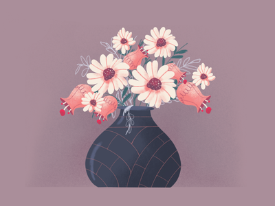 Flowers flower illustration illustration art vase pot flowers flower vectorart illustration
