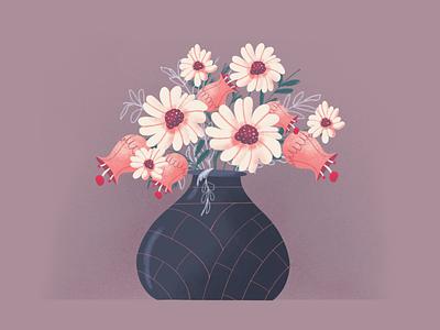Flowers flower illustration illustration art vase pot flowers flower vectorart illustration