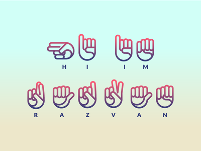 Show Your Name simple design line hands sign language