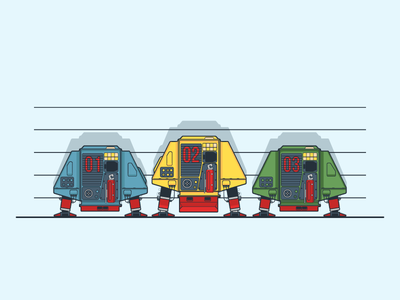 Dewey, Huey, Louie lineup fun old school retro robots silent running
