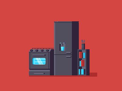 Kitchen Appliances simple flat design illustration books fridge freezer oven kitchen