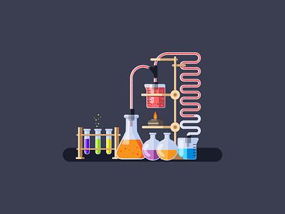 Chemistry tubes burner flask chemistry flat simple chemicals graphic design illustration