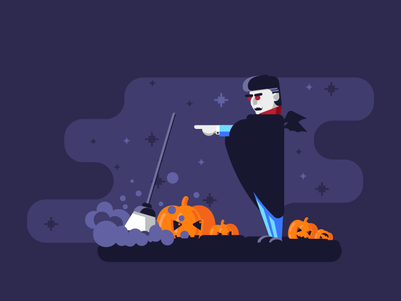 Cleaning With The Count cleaning broom dracula dust graphicdesign fog scary pumpkins halloween illustration