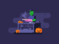Cookin' With Frank cookies frankenstein kitchen cooking graphicdesign fog scary pumpkins halloween illustration