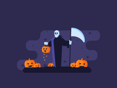 Trick or Reap! death reaper candy graphicdesign fog scary pumpkins halloween illustration