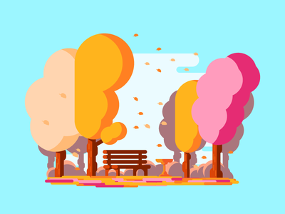 Windy Park waterfountain colorful 2d simple graphicdesign park windy bench leaves autumn illustration