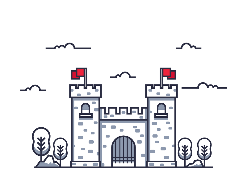 Fort line 2d simple flags trees fort castle tower graphic design illustration