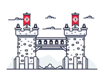 Pen Guild Twin Towers line art simple clouds rocks scary moat bridge twin towers graphic design illustration