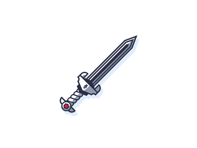 Pen Guild Sword line art simple edge weapon sharp metal steel sword graphic design illustration