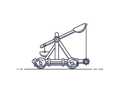 Catapult siege medieval wheel catapult graphic desgin illustration