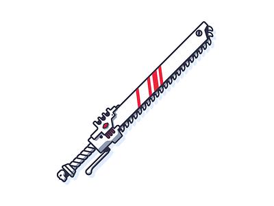 Chain Sword chain line art simple edge weapon sharp metal steel sword graphic design illustration