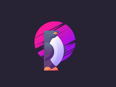 Half-A-Pengu simple colorful freezing penguin neon gradient graphic design illustration