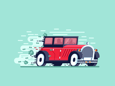 Getaway Car old car chase robbers money speed car graphic design illustration
