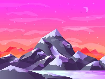 Mountain Vista  #1 moon gradients stars clean snow fresh mountain graphic design illustration