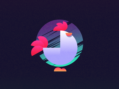 The Year Of The Rooster retro gradient chinese chicken rooster graphic design illustration