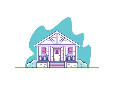 Cabin snow air fresh house cabin graphic design illustration