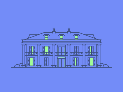 Colonial House minimal simple line windows colonial icon villa house graphic design illustration