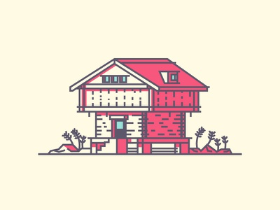 Norwegian House norway minimal simple line windo0ws plants icon villa house graphic design illustration