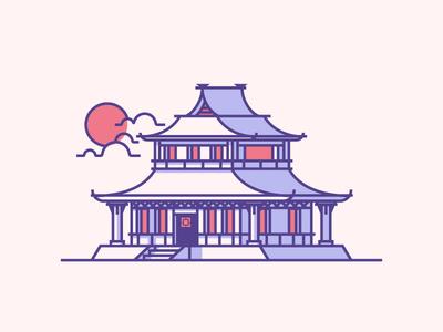 Japanese House japan minimal simple line windows cloud sun icon villa house graphic design illustration