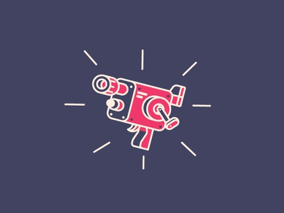 Action!  action old reel camera movie icon graphic design illustration
