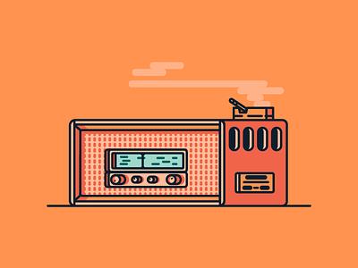 Live retro old smoke ciggar fm am tune radio graphic design illustration