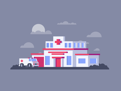 Clinic ambulance fun simple hospital clinic graphic design illustration