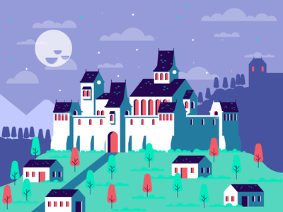 Fort fun hill mountain sky moon tower trees houses castle fort graphic design illustration