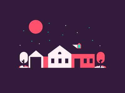 Late Night garage trees stars moon night late villa house graphic design illustration