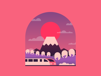 Japan illustration graphic design japan train speedtrain bullettrain trees fuji minimal