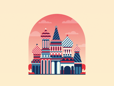 Cathedral awesome minimal flat church moscow russia cathedral graphic design illustration