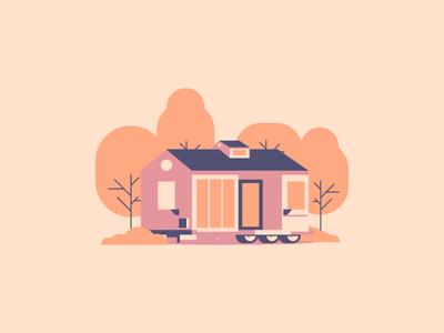 Tiny House tiny minimal simple line windows bench icon villa house graphic design illustration