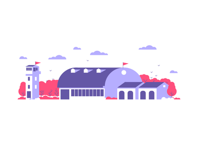 Airport sky birds planes warehouse airport graphic design illustrator