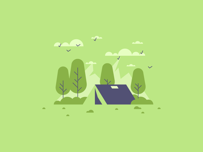 Camping fresh air trees nature tent camping graphic design illustration