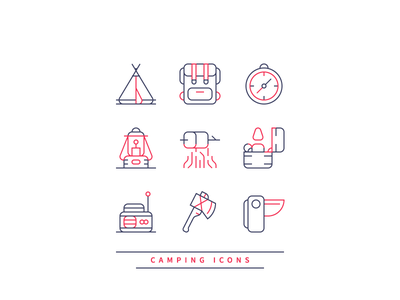 Camping Icons pocket knife backpack tent lamp radio axe lighter compass nature camping graphic design icon