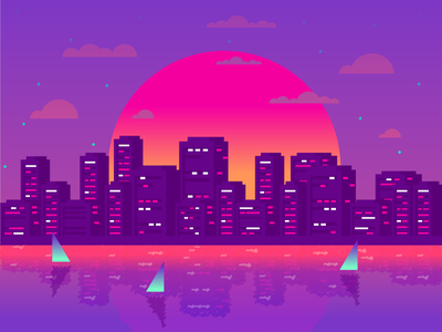 City clouds lights sun boats water city graphic design illustration